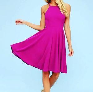 LULUS | Magenta Midi A-Line Dress Size Small